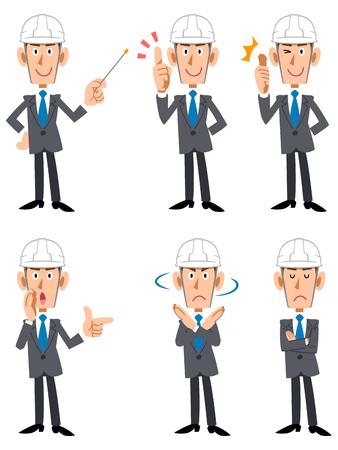 Men with helmet and suits, at a construction site Vektoros illusztráció