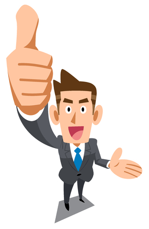 A businessman giving thumbs up, thumb up