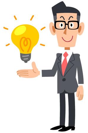 Ein Geschäftsmann, der eine Brille trägt, um Ideen vorzuschlagen Vektorgrafik