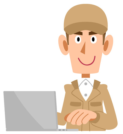 A beige working clothing man who operates a personal computer
