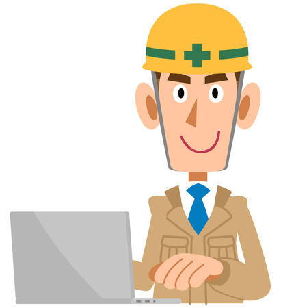 A Man in the construction industry who operates personal computers, beige clothes