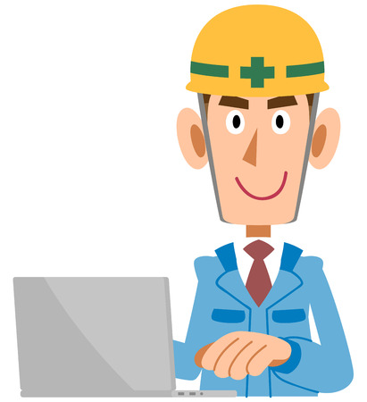 A Man in the construction industry who operates personal computers, blue clothes Ilustração
