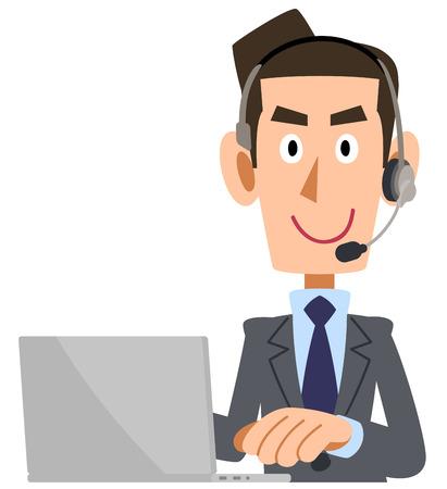 Un hombre con un traje ajustado con un auricular que opera una computadora personal