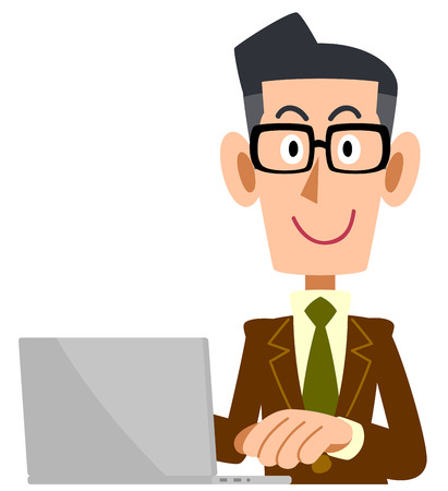 A man who wears glasses wearing a brown suit operates a personal computer