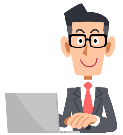 A Businessman who wears glasses operates a computer Illustration