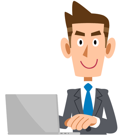 Businessman operating a personal computer Illustration