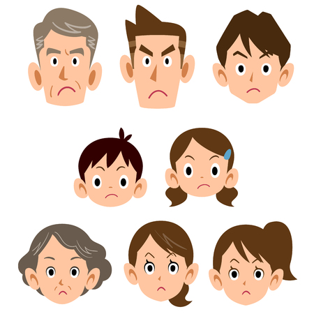 Three generations of family angry face icon