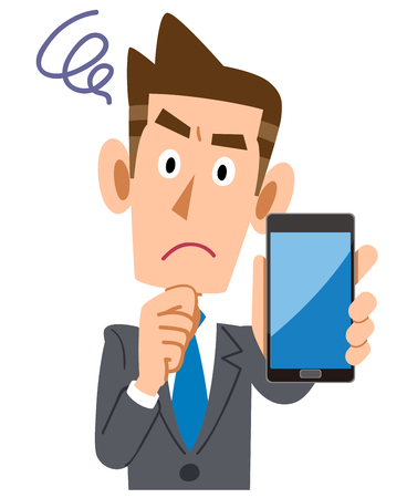 troubled businessman holding a smartphone