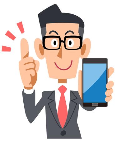 Businessman wearing glasses explaining with smartphone
