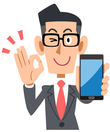 Businessman with glasses holding a smartphone and putting out an OK sign