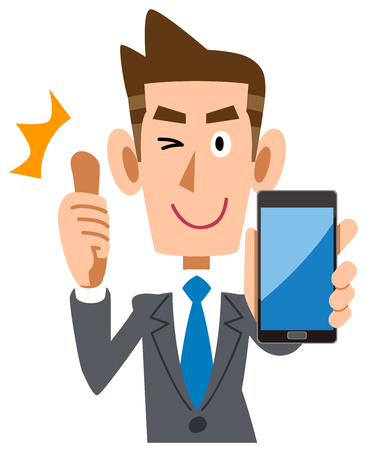 Businessman thumbs up with a smartphone