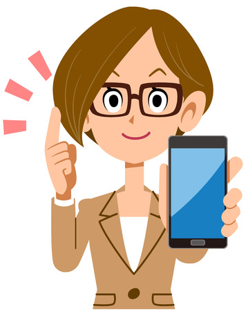 Business woman explaining with smartphone Illustration