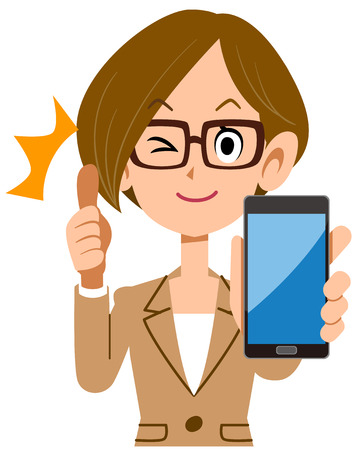 Business woman thumbs up with smartphone