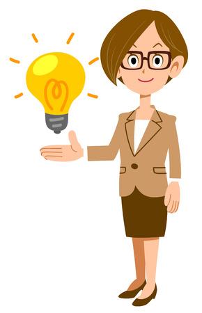 Business woman with glasses proposing an idea Ilustração