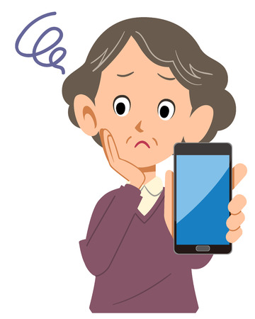 Senior woman troubled with smartphone