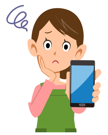 Housewife troubled with smartphone in hand