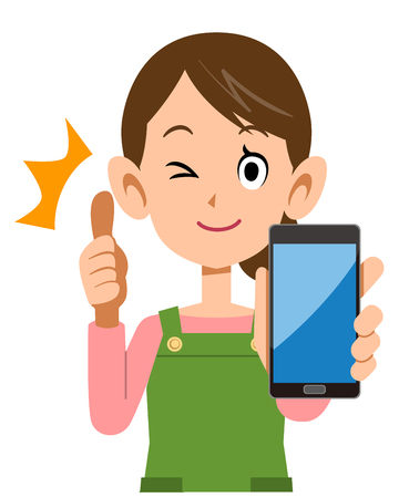 Housewife thumbs up with a smartphone in hand  イラスト・ベクター素材