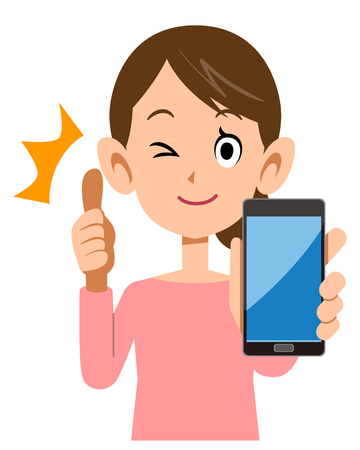 A woman holding a smartphone and thumbs up Illustration