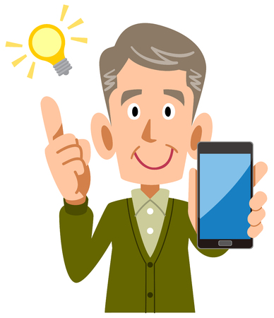 Senior man holding a smartphone in his hand Ilustrace