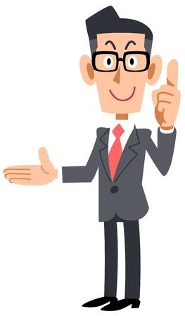 Empresario con gafas explicando el punto de la derecha. Ilustración de vector