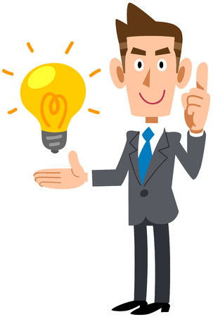 Young businessman explaining the gist of an idea Stock Vector - 119208037