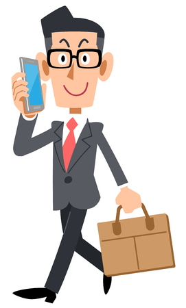Businessman with glasses to commute while calling by smartphone Ilustrace