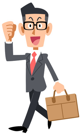 Businessman with glasses to go to work