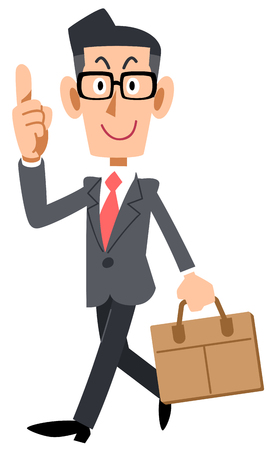 Businessman with glasses pointing to work with his index finger Imagens - 119208050