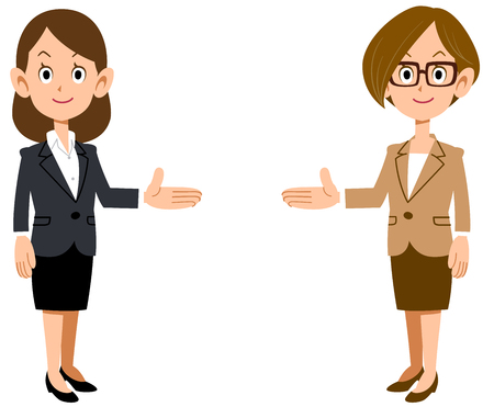 Set of business woman introducing on both sides Illustration