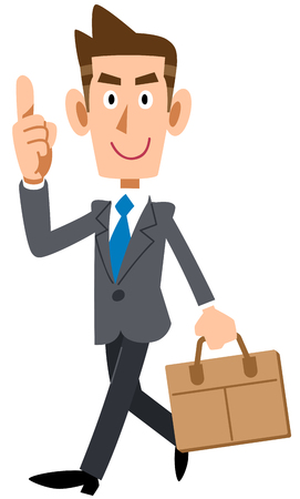 Businessman commuting to work with index finger Ilustrace