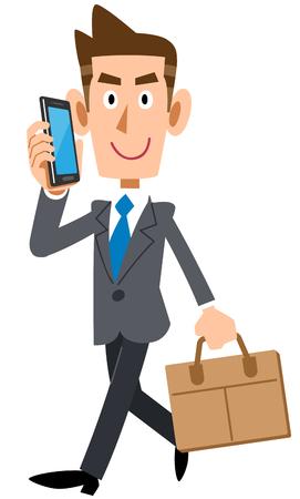 Businessman commuting while calling by smartphone Ilustração
