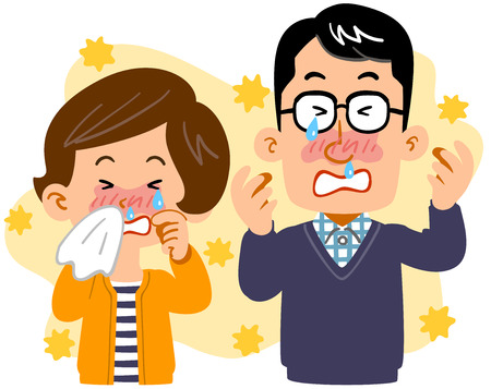 Married couple suffering from hay fever