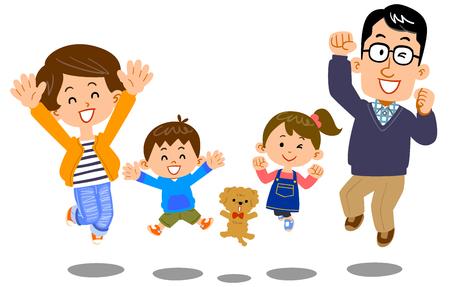 Jumping family, happy, health