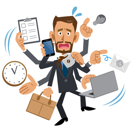 Too busy businessman, brown, beard