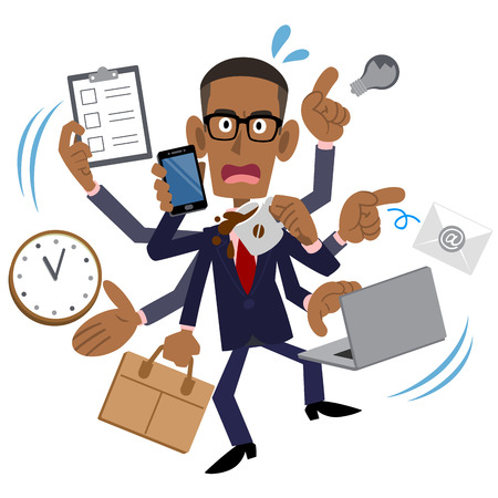 Busy Businessman, African American, Black Man