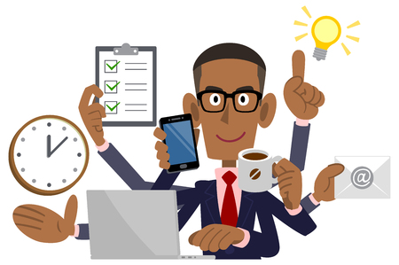 Businessman doing multitasking, African American, Black