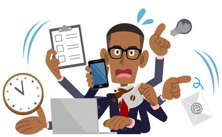 Busy Businessman, African American, Black Man Stock Illustratie