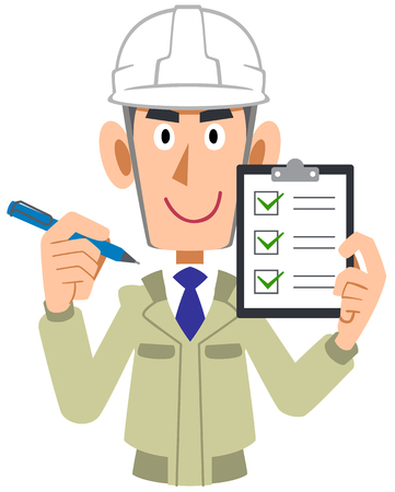 Man of the engineering firm which holds a check list in a hand, helmet