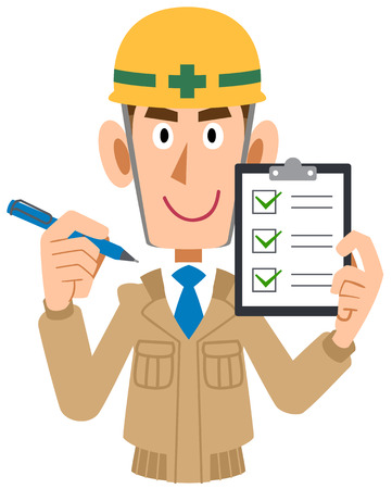 Male construction worker holding checklist in hand