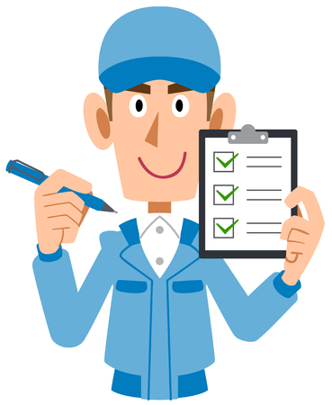 A Man in work clothes holding checklist in hand
