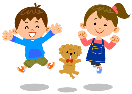 Male and Female Children and Pet Dog Jumping Ilustrace