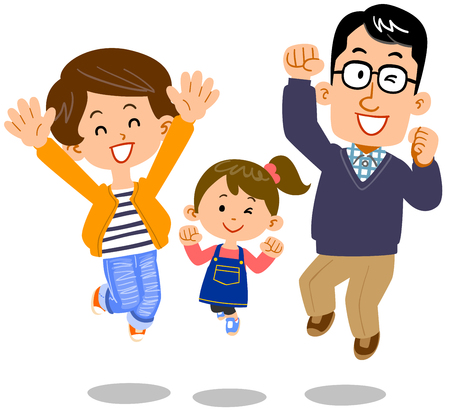 Jumping couple and daughter