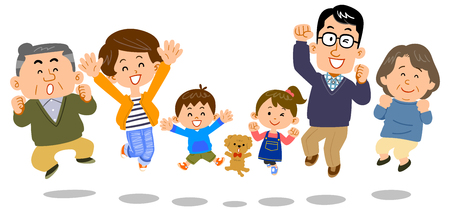 Jumping family three generations 矢量图像