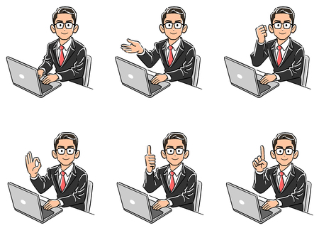 Set of six businessmen with glasses pointing the face to the front while operating the computer