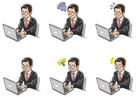 Set of six types of business man operating a personal computer  イラスト・ベクター素材
