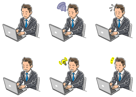 Set of six types of business man operating a personal computer 向量圖像
