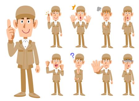 Neuf expressions d'un homme en vêtements de travail Vecteurs