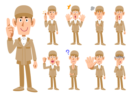 Nine expressions of a man in work clothes