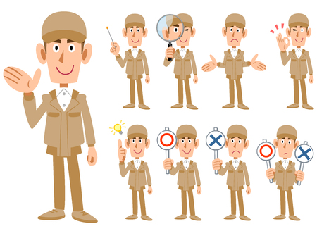 Nine expressions of a man in work clothes  イラスト・ベクター素材