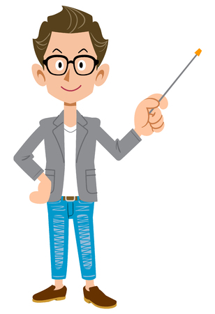 Creator-like young man in a jacket with a pointing stick